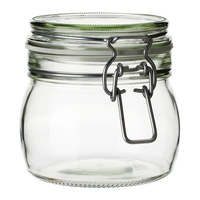 2 pieces/lot 500ml glass jar with airtight seal lid, food storage.