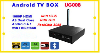 UG008 Android TV Box Google Android 4.1 External Antenna RK3066 Dual Core 1G/8G AV Output RJ45 Power Button HDMI WiFi