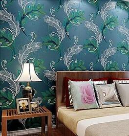 High end non woven chinese stijl 3d pauwenveer behang roll tapete voor de woonkamer slaapkamer - Modern behang voor volwassen kamer ...