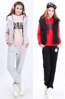 Dropshipping!2014 Autumn Korea thickening Sport suit Leisure suit Three-piece suit Hoodies Suit(Coat+Pants+Vest)