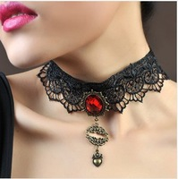 Lip Heart Black Lace Fashion Korean Handmade Short Necklace For Women Z3T4