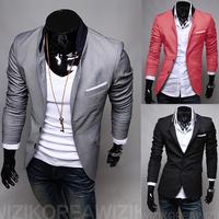 Hot! 2015 Spring New Men Blazer Fashion Slim casual blazer for Men Brand Mens suit Designer jacket outerwear men 3 colors M~XXL