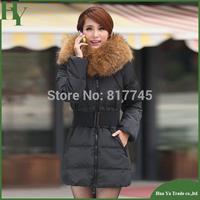 J004 Winter 2013 Korean Style Genuine Slim Large Size XXXL Women Long Down Jacket Fur Collar Big Yards Jacket Outerwear