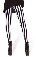 EAST KNITTING A45 New Arrival Beetlejuice Leggings Black white vertical stripe print pants free shipping