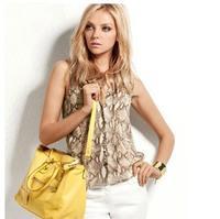 2014 New Arrvial Free Shipping Stand Collar Lacing Serpentine Pattern Chiffon Sleeveless Shirt Women Fashion Clothing Tops
