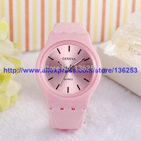 New Fashion Women Silicone Quartz Watches Lady Casual Sports Clock Wristwatch Geneva Wrist Watch Colorful Jelly Watch 100pcs/lot