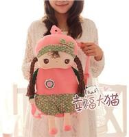 Free shipping kids gift super cute sweet metoo angela girl backpack children shoulder school bag plush doll toy,1pc