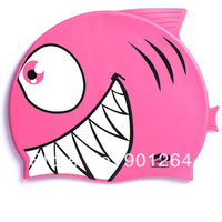 Funny hot sale waterproof kids silicone cartoon swim caps