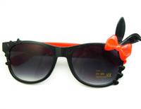 Free Shipping Super Cute Bunny Ears Sunglasses With Bowknot, Women Acrylic Black Frame Rabbit Sunglasses, UV 400 PROTCETION