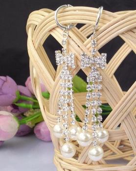 Hot Hot Sale Korea Vogue Pearl Tassel Bow Shape drop Earrings Female Alloy Ear Hook