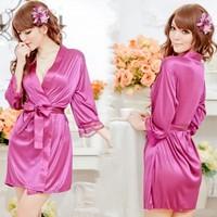 Hot Sale 5 Colors Sexy Lingerie Mike Silk Robe Dress+G String Set Sleepwear Costume Sexy Sleepwear, One Size Free Shipping