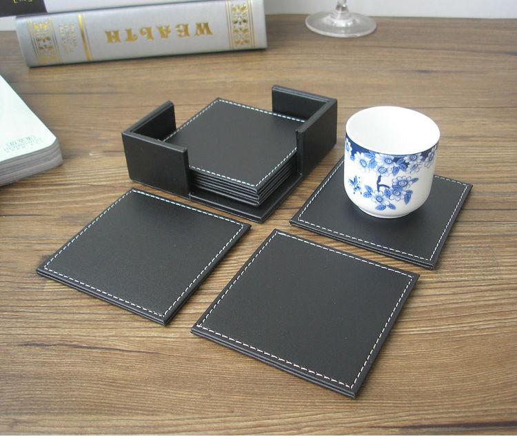 10x10 Cm 6pcs Set Square Pu Leather Coffee Tea Cup Coaster
