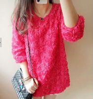 2015 spring 3d three-dimensional rose cute shirt half sleeve expansion bottom loose bud chiffon one-piece dress