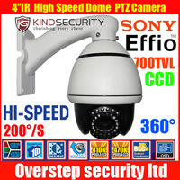 700TVL 1/3 Sony ccd outdoor 10x mini speed dome camera 10x ptz camera cctv camera with Bracket ,PTZ Indoor kamera