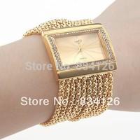 2013 New Women Lady Ladies Bracelet bangle wrist watch fashion quartz watches rhinestone diamond watch Free shipping Gold Silver
