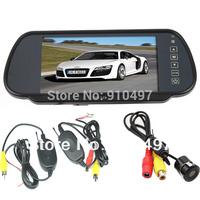 "Car Rear View Kit 7"" TFT LCD Mirror Monitor + Wireless Reversing Backup Parking Camera 170 Degree Wide Angle"