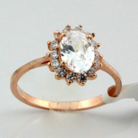 18k gold plated ring CZ Crystal ring wholesale free shipping. Fashion finger rings for women
