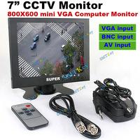 Metal monitor 800 x 600 computer mini monitor CCTV Monitor 7 inch TFT LCD Monitoring with VGA , BNC, AV Video input