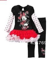 Hot girls minnie mouse dress+pants set cartoon kids long sleeve TUTU dress set cute design girls clothing suit