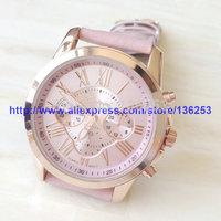 2014 New Arrival Hot Selling Geneva Watch High Quality Fashion Three-Eye Dial Leather Dress Quartz Analog Watches 50pcs/lot