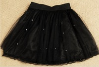 DEAR LOVER High Quality Girl's Summer Sexy Pleated Multi Layered Mini Skirt Mesh Cover with Beading Elastic Top Lace Bottom