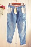 Japanese style loose thin waist drawstring all-match crochet lace hem roll up roll-up hem heart print jeans