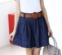 Pollera De Jeans denim short puff skirt bust pleated skirt send strap saias femininas 2014 fashion blue saia jeans