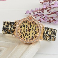 Hot! New Fashion Rhinestone Inlaid Dial Elegant Leopard Supply Of High Quality Silicone Quartz Watch