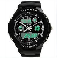 Free shipping men military watch sports watches 2 time zone digital quartz Chronograph jelly silicone swim dive watch