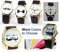 Big Ribbon Cross Bonjour Cat Kitty Mustache Bunny Bear Watch PU Leather wristwatch casual dress