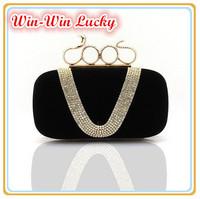 New Punk Style Women's Velvet Handbag V-shaped Diamond Snake Ring Banquet Clutch Purse Evening Bag Top Quality Messenger Bag