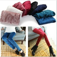Slim Gold Velvet Leggings Printed trousers for Female Autumn and Winter Casual Basic Pants 6colors
