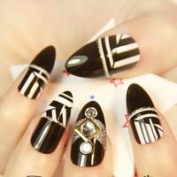 2014 New black and white Indian false nail,Harajuku punk fake nail,long stiletto nails tips,24 pcs with adhesive,free shipping