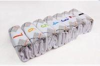 Male Socks Week Men's Socks 100% Cotton Spring And Autumn Socks Rhombus Pattern  gift box 7 Pairs Free Shipping