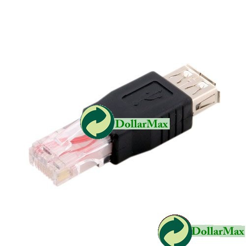 Free shipping: USB A Female to Ethernet RJ45 Adapter Connector wholesale(China (Mainland))