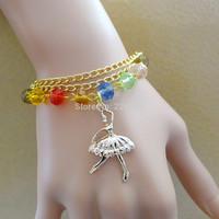 Accessories delicate crystal bracelet ballet girls rose gold pendant bracelet female