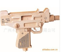 Free shipping ---Small uzi pistol 3 d wooden simulation/stereo DIY assembly model educational toys