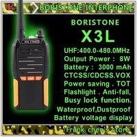 Handheld Walkie Talkie BORISTONE 8W Two-Way Radio U Band FM Transceiver  BORISTONE-X3L Free Shipping