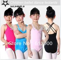 Children cotton lycra double cross strap girls ballet dance leotard gymnastic one piece leotards S/M/L/XL free shipping
