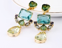 2013 new design fashion women brand green crystal flower earrings size 6cm