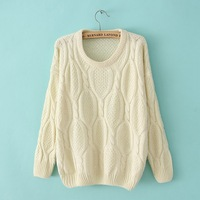 7 Solid Color Hand Knitted Sweater For Women Fashion O-Neck Long Sleeve Twisted Pullover Loose Sweater Crochet Tops Jacket