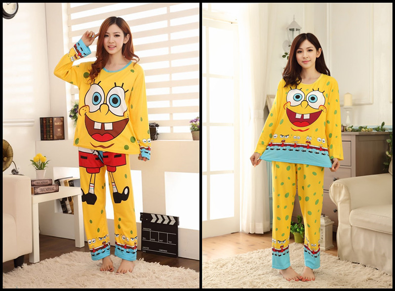 Fashion autumn winter women's pajamas set,new spongebob women cotton clothing set,sweet female lady twinset nightwear sleepwear(China (Mainland))