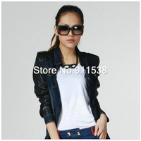 1pcs Free shipping spring PU leather denim outerwear denim outerwear female long-sleeve #H509