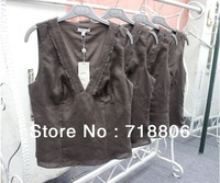Free Shipping 50pcs Wholesale Women Big Brand Original Pure Linen Lace V-neck Vest Vest Top Casual Top