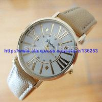 Hot Sales Fashion Ladies Dress Wristwatches Woman Geneva Rhinestone Quartz Watch Roman Number Leather Watches 50pcs/lot