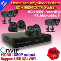 Home 8CH CCTV Security Camera System 960H DVR 4pcs Outdoor Waterproof Bullet Camera 4pcs IR Dome Camera Video Surveillance Kit