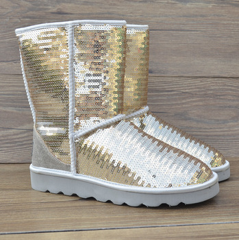 2013 Winter New Arrivals Genuine leather logo patch Sequins Discolor Golden Sliver Snow boots women's fashion shoes