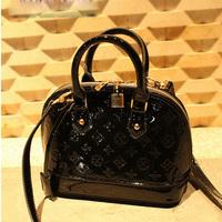 2014 women's hand vintage shoulder bag shell bag japanned leather handbag