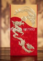 Customized embossed bronzing traditional Chinese dragon&phoenix  wedding invitation card, 100sets/lot, Express free shipping