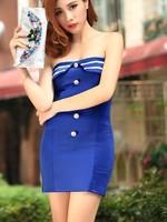 Vestido corset New arrival summer navy style button color blue dress Vestido De Corto fiesta corset vintage corset saia